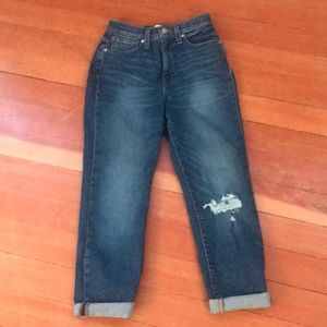Denim - Mom jeans with ripped knee size small/size 24